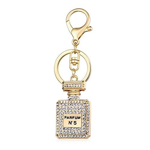 LUOSI Mode Parfümflasche Anhänger Zubehör Schlüsselring 3 Farben Strass Kristall Parfüm-Flasche Keychain Geschenk Schlüsselanhänger Ornamente (Color : 3)