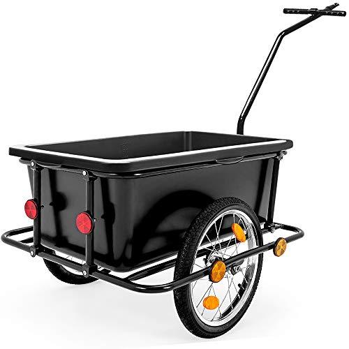 Deuba Remorque de vélo avec Barre d'attelage - poignées - pneumatiques - 90 litres