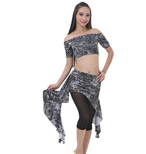 ZhiYuanan Damen 3 Pcs Belly Dance Bauchtanz Pfau Taillenrock Anzug Tanzen Bekleidung Tops & Hose & Rock KQGrau