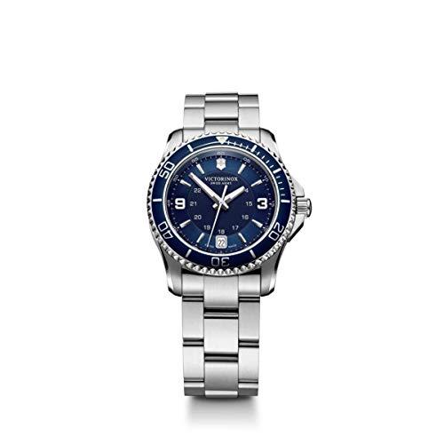 Reloj Victorinox Swiss Army para Mujer 34mm, pulsera de Acero Inoxidable, cubierta de Zafiro anti-reflejante, Blue, standard