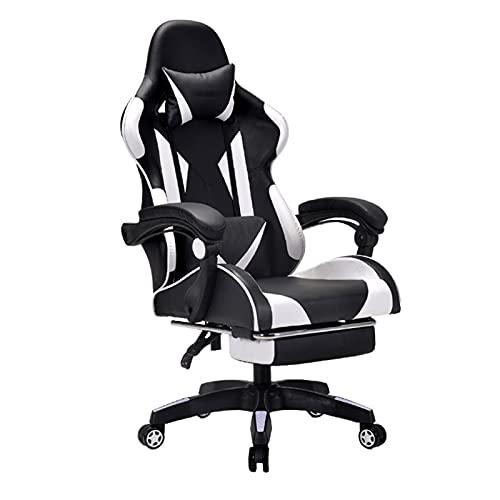 Silla ergonómica para juegos de carreras, giratoria, de piel sintética, para casa, oficina, computadora, escritorio, con soporte lumbar ajustable y reposacabezas, color blanco