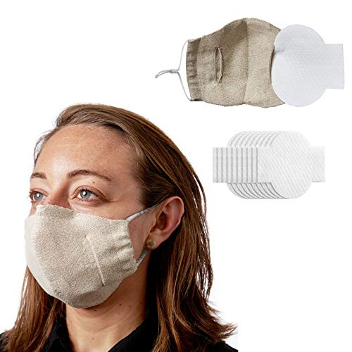 Wembley Unisex Laboratory-Tested Adjustable and Washable Silver Linings Face Mask with 10- Replaceable Filters, Beige, One Size