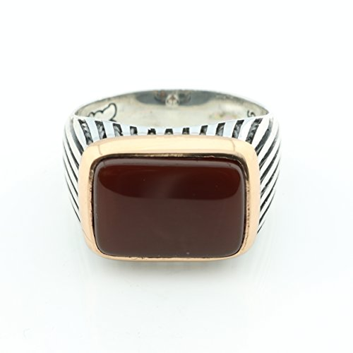 KAR 925K Stamped Sterling Silver Agate (Aqeeq) Men