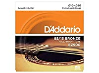 D'Addario ダダリオ アコースティックギター弦 85/15アメリカンブロンズ Extra Light .010-.050 EZ900 【国内正規品】