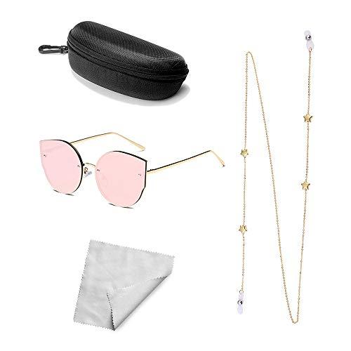 Xniral Herren Damen Brille Unisex Cateye Sonnenbrille mit Rutschfest Brillenkette, Brillenetui, Brillentuch (B)