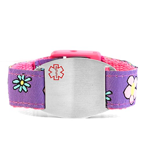 StickyJ USA Girls Pink and Purple Flowers Sport Strap Medical Alert Bracelet