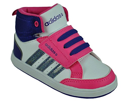 ADIDAS NEO HOOPS MID CMF KINDERSCHUHE BABY SCHUHE F97857 WEISS PINK LILA 22 - 27, Schuhgröße:EUR 25 1/2;Farbe:Weiß