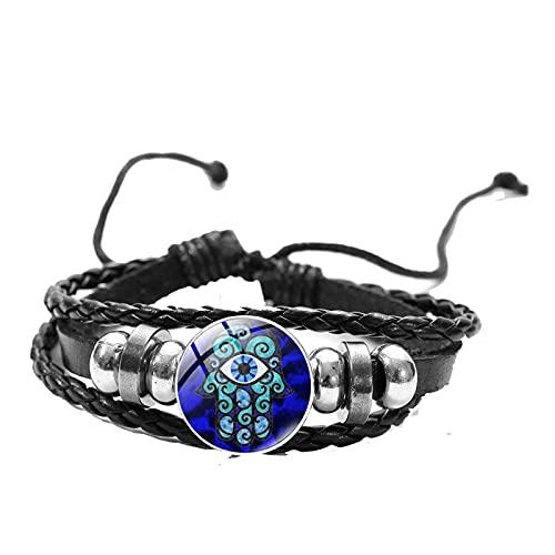 Mano de Fatima Hamsa pulsera turco mal de ojo arte popular patrón de cristal redondo botón a presión pulsera de cuero amuleto joyería