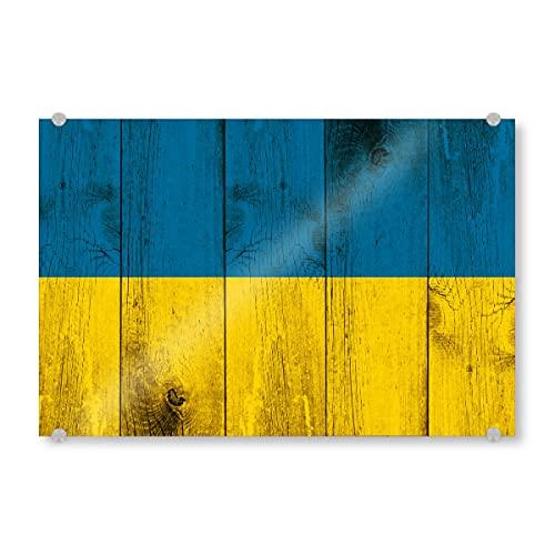artboxONE Acrylglasbild 60x40 cm Reise/Länder Ukraine Vintage Flagge - Bild Ukraine Flagge kiew