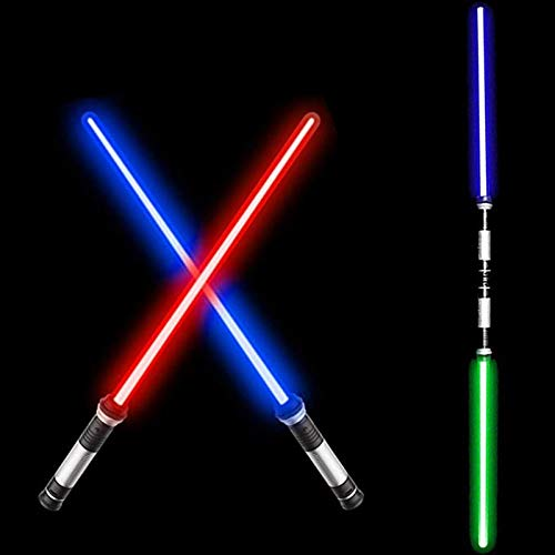 Light Up Laser Sword, 2-in-1 Lightsaber Sword with Sound(Motion Sensitive), 7 Adjustable Colors and Stretch Length for Galaxy War Fighters and Warriors, Dual Swords Set for Party Favors Birthday Gifts
