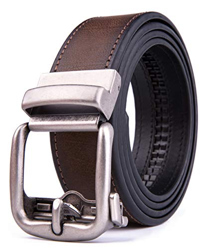 Men's Genuine Leather Ratchet Dress Belt with Automatic Buckle, Adjustiable Sizes, Handmade, All leather Strap (36/38, D Brown 2073)