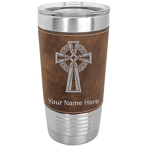 20oz Vacuum Insulated Tumbler Mug, Celtic Cross, Personalized Engraving Included (Faux Leather, Rustic)