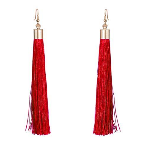 Tooky. Par de pendientes colgantes de borla larga con cristal y pasador (Red)