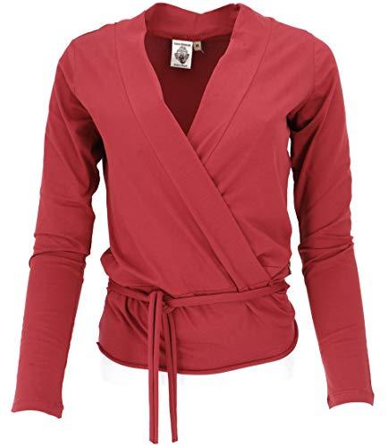 GURU SHOP Camiseta envolvente, camiseta de yoga, camiseta de manga larga en calidad orgánica, para mujer, algodón, jersey, manga larga y sudadera, ropa alternativa Paprika S