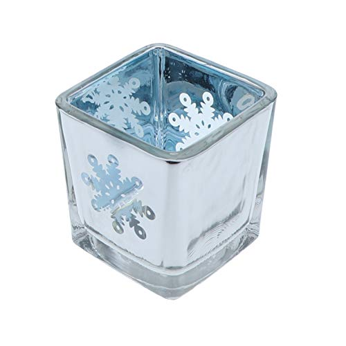 Tea Light Holder Glass Silver with Snowflake - 1 Pack