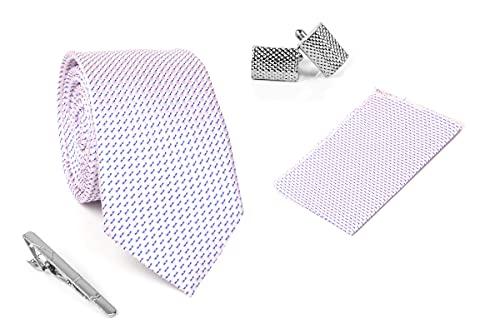 Aeht Men's Necktie, Pocket Square, Tie Pin and Cufflink Set 3 inch width, 58 inch length 1659 TTPC Pink