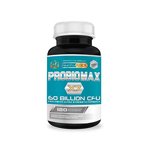 ProbioMax X7 [60 billones de CFU] | Fórmula única de amplio espectro | Probióticos microencapsulados para evitar su degradación | Mejora el sistema inmunológico | 120 cápsulas de liberación prolongada