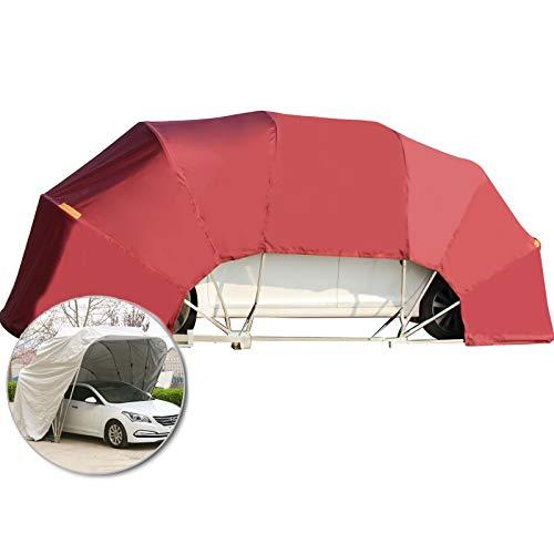 LiChenY Mobile Garage Auto Abdeckung Hydraulisch Halbautomatisch Home Outdoor Parkplatz Shed Edelstahl Falten Carport Anti-UV, Wasserdicht, Schnee, Sturm (Color : Red, Size : with Base)