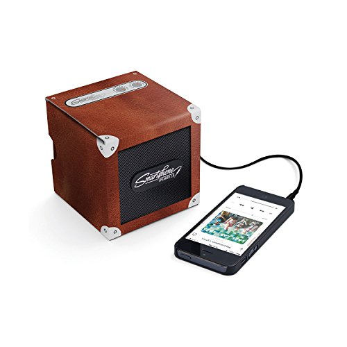 Luckies Of London Smartphone Speaker - Battery Powered Portable Speaker For MP3 Playing Devices And Mobile Phones With Headphone Jack - Up To 30 Hours Playtime, Brown Leather