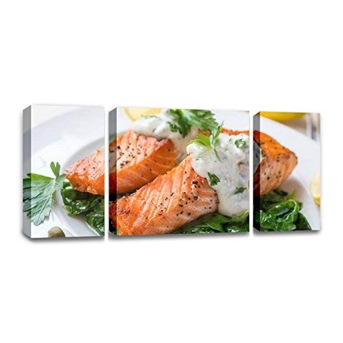 CCArtist Grilled Salmon Steak with Spinach, Tartare Cream and Lemon Wedges Wall Decoration Print Photo on Canvas Modern Photography Home Decor Modern Canvas Painting Wall Art