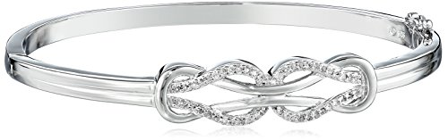Sterling Silver Diamond Double Knot Bangle Bracelet (1/4 cttw, J Color, I3 Clarity)