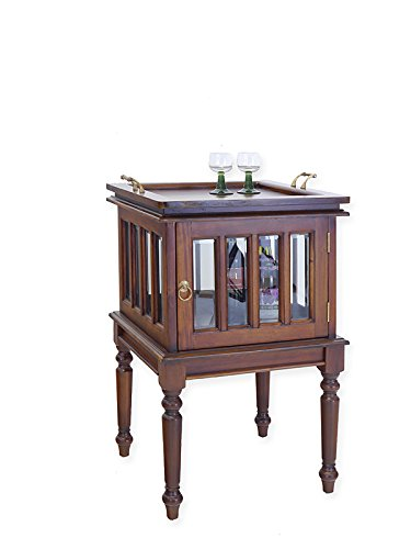 Antike Fundgrube Teeschrank antiker Stil aus Massivholz | Barschrank Vitrinenschrank | Nussbaum-Farbton hell | abnehmbares Tablett | B: 52 cm (6712)