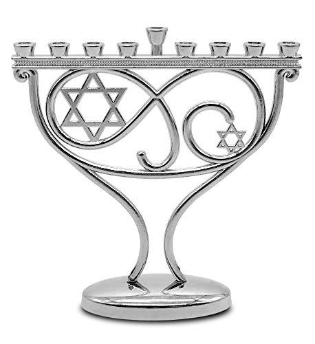 Ner Mitzvah Mini Menorah - Whimsical Hanukkah Menorah - Chrome Plated
