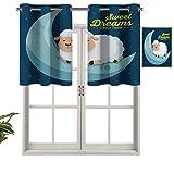 Hiiiman Cenefa de cortina para interiores y hogares, ilustración de cielo nocturno con ovejas durmiendo en la luna con fondo relleno de estrella, juego de 1, 91,4 x 45,7 cm para baño y cafetería.