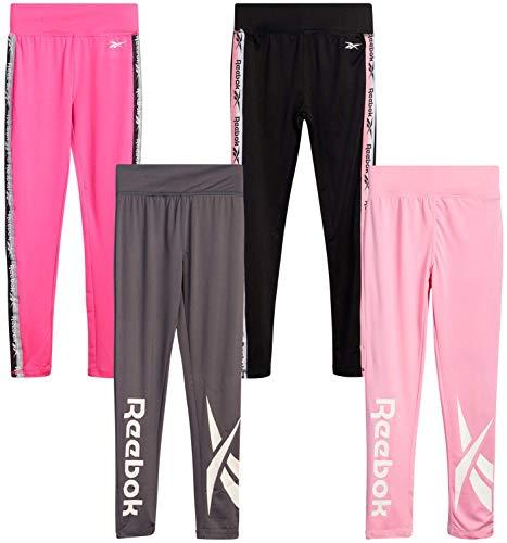 Reebok Girls' Active Solid Color Legging Pants with Mesh Side Pocket (4 Pack) (Pink/Black/Charcoal Sugar, Medium/(8-10))