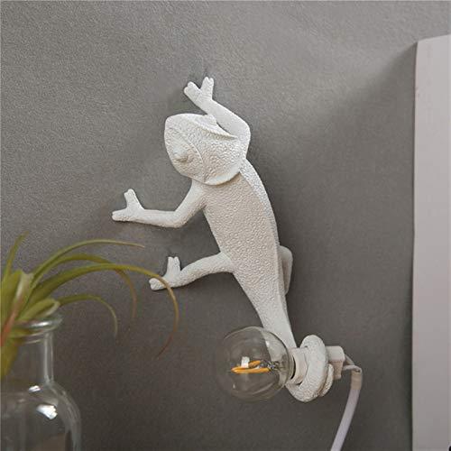 Newest Nordic lagarto escritorio luz moderno lindo led resina animal camaleón lámpara de mesa de niños dormitorio de noche deco lámpara lámpara tipo animal (Lampshade Color : Wall lamp B)
