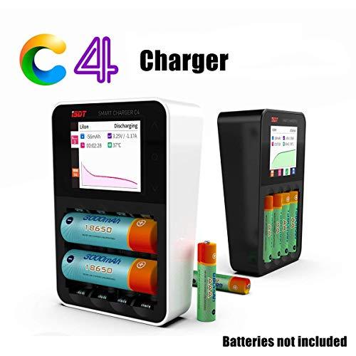 ISDT C4 8A Batterieladegerät Akku Ladegerät Laden & Entladen für AA/AAA NiMH NI-Cd Eneloop-, Li-Ion-, LiHv- und LiFePO4 18650 wiederaufladbare Batterien, Schnellladen + USB-Lader (schwarz)