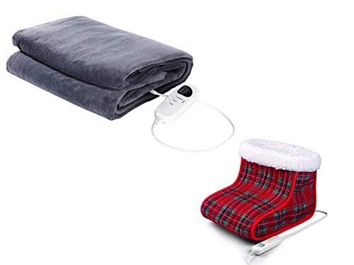 Wellness set: elektrische fleece verwarmingsdeken met timer + elektrische voetenwarmer