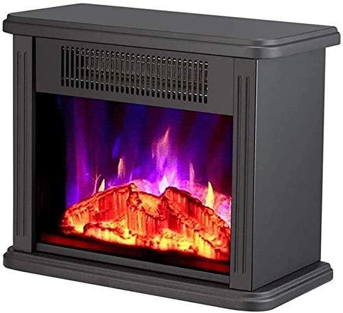 El calentador de estufa de chimenea eléctrico portátil independiente, calentador de estufa eléctrico de 750/1500W con efecto de llama de fuego, configuración de calor de madera de grabador de madera,