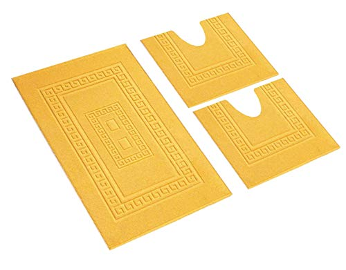HomeIt - Set Tappeti Bagno 3 Pezzi in Cotone - Elegante Parure tappetini in Spugna: 1 Tappeto 60X90 2 Girowater/Girobidet - Lavabile Lavatrice - Made in Italy (Giallo)