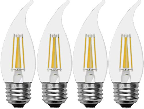 GE Relax HD Bent Tip Dimmable LED Light Bulbs (60 Watt Replacement LED Light Bulbs), 500 Lumen, Medium Base Light Bulb, Soft White, Clear Finish, 4-Pack LED Bulbs, Title 20 Compliant