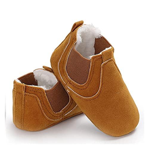FURONGWANG6777BB Zapatillas de piel para bebé y niña, con suela suave, de leopardo, sólidas, cálidas, para primeros caminantes (color amarillo, tamaño: 0-6 meses)