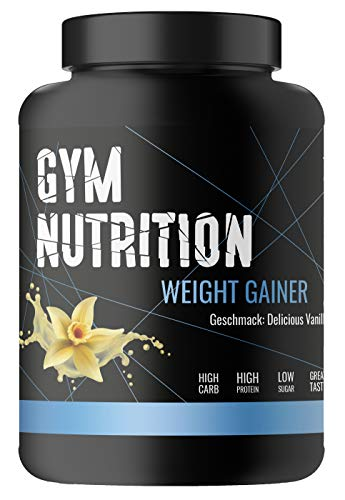 GYM-NUTRITION® — WEIGHT-GAINER – vegan, ideal für Body-Builder & Hard-Gainer, die Gewicht aufbauen wollen – Mass & Muscle Powder – Made in Germany (DELICIOUS VANILLA 1KG)