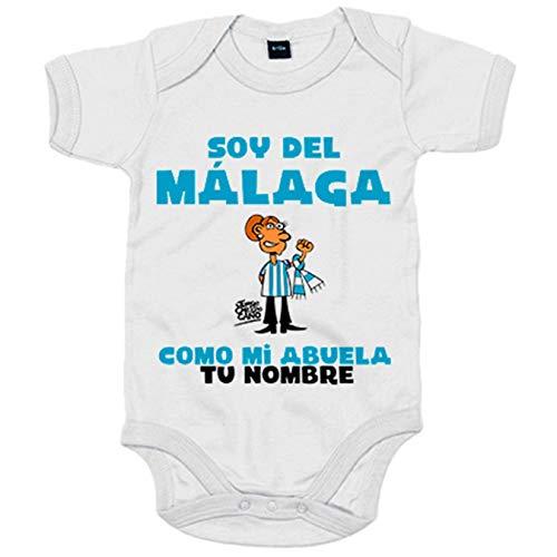 Body bebé soy del Málaga como mi abuela personalizable con nombre - Blanco, 6-12 meses