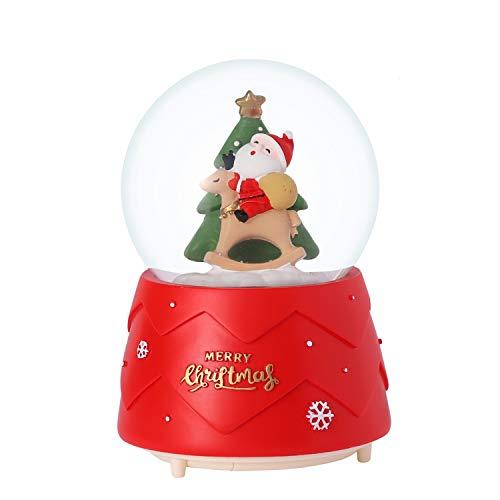 ITODA - Palla di neve natalizia, con musica e neve, Babbo Natale, renna, con sfera di cristallo, con fiocco di neve e pallina d'acqua per decorare la casa, per feste di compleanno