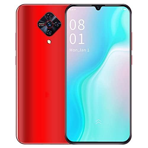 HGDM Smartphone Desbloqueado 4G, Android 9.1 De Diez Núcleos 4GB + 64GB, Pantalla De 6.3 Pulgadas, Teléfonos Celulares Desbloqueados con SIM Dual, Cámara De 8MP + 16MP, 4000Mah,Rojo