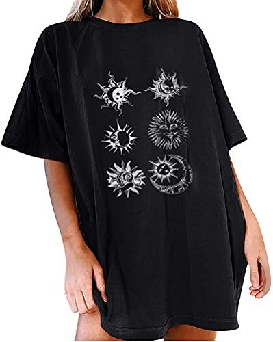 Tomwell Sudadera Oversize para Mujer Streetwear Sudaderas de Cuello Redondo Manga Larga Casual Pullover Sudadera Tops Casual Fiesta T-Shirt E Negro L