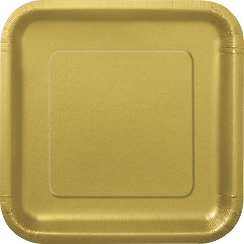 Unique Party - 33240 - Paquet de 16 Assiettes Carrées en Carton - 18 cm - Or