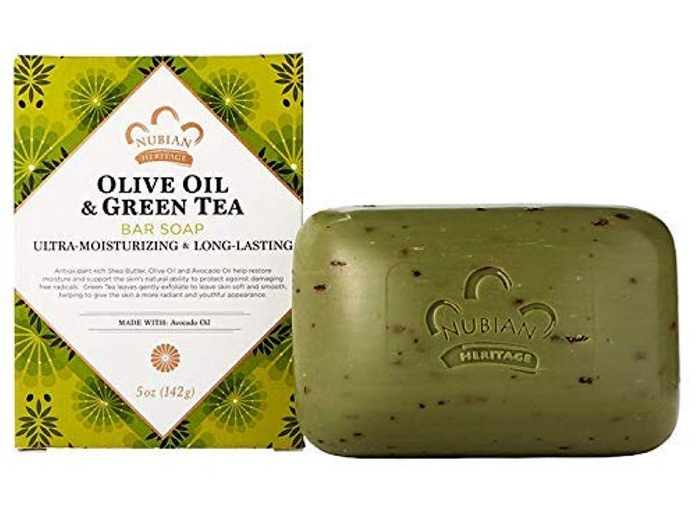 しかしながら繰り返し上院海外直送品Nubian Heritage Bar Soap, Olive and Green Tea 5 OZ (Pack of 6)