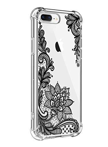 Suhctup Funda Compatible con iPhone SE2/iPhone 9 Carcasa Transparente,Dibujo Diseño Flor [Protección Caídas] Ultra-Delgado Flexible Silicona TPU Estuche Cover para iPhone SE2/iPhone 9,Mandala 4