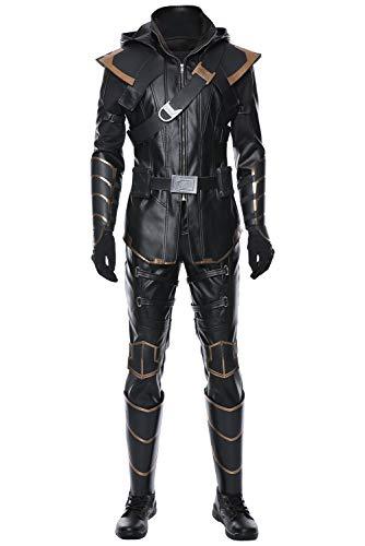 Costume da Uomo per Adulti Eroe Cosplay Costume Completo Nero Costume Cosplay di Halloween, M