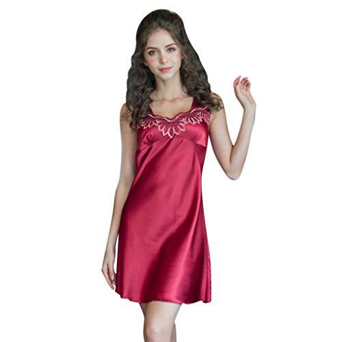 UULIKE - Pijama para mujer de color puro con cuello en V, sin mangas, de satén, ropa de dormir para mujer, lencería sexy Rojo rosso XXX-Large