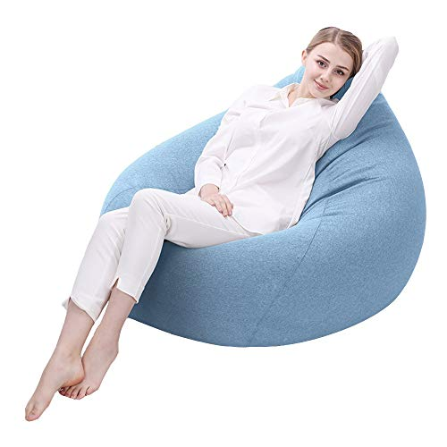 Axdwfd Chaise longue Lazy Couch, Bean Bag Lounger, Bean Bag intérieur de salon, siège de chaise Bean Bag (90x110cm) (Couleur : Sky blue)