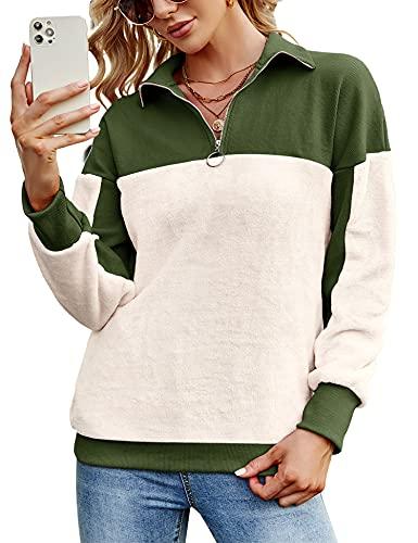 Rapbin Mujer Sudadera Caliente y Esponjoso Tops Chaqueta Suéter Abrigo Jersey Mujer Talla Grande Hoodie Larga Pullover Deportivo Cremallera Chaqueta Hoodies Suéter Abrigo(Verde Militar Beige, S)