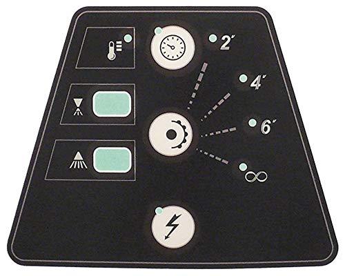 Lámina de teclado para lavavajillas, 3 teclas, ancho 144 mm, negro/blanco, longitud 185 mm