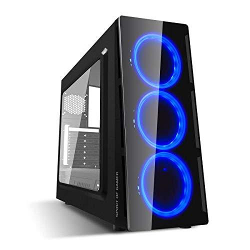 SPIRIT OF GAMER DEATHMATCH 5 - Boitier PC Gaming ATX - mATX - Compatible MITX / 3 Ventilateurs avant Single Ring LED BLANC / BLEU / ROUGE – Paroi et Fenêtre Latérale en Plexiglass (BLEU)